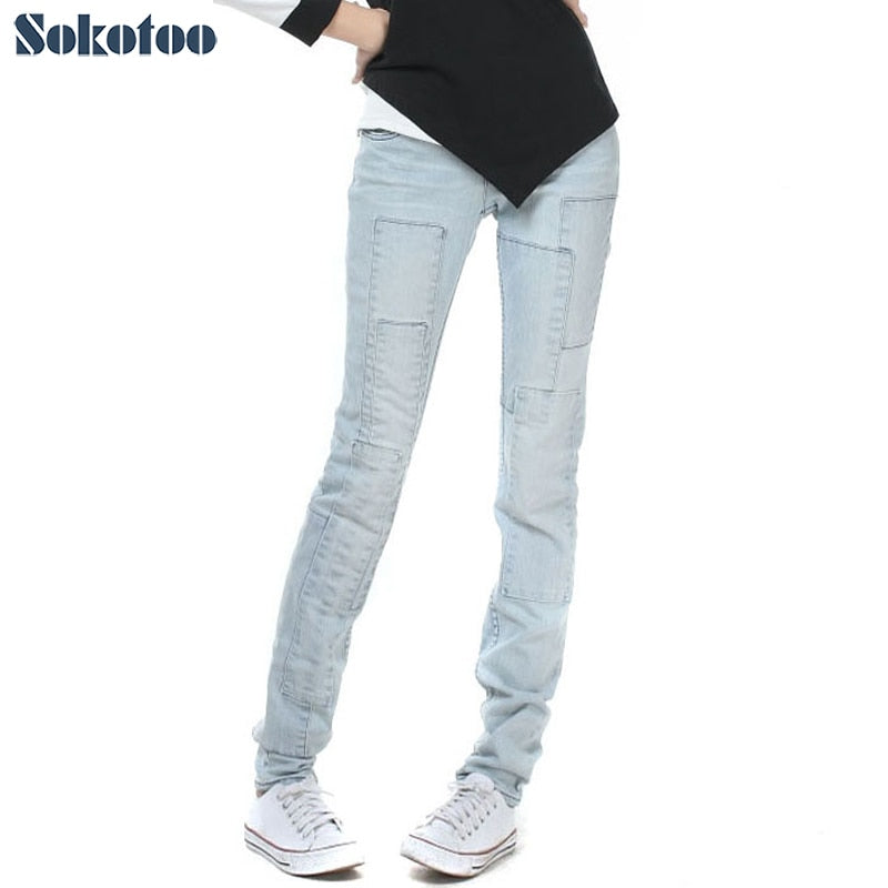 Sokotoo Women's all match light blue lengthened denim jeans for big and tall Spliced vintage pants cheap price high quality-lilugal