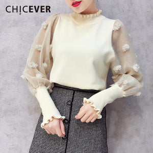 CHICEVER 2018 Spring Knitted Pullovers Female Sweater For Women Top Patchwork Mesh Lantern Sleeve Sweaters Jumper Clothes Casual-lilugal
