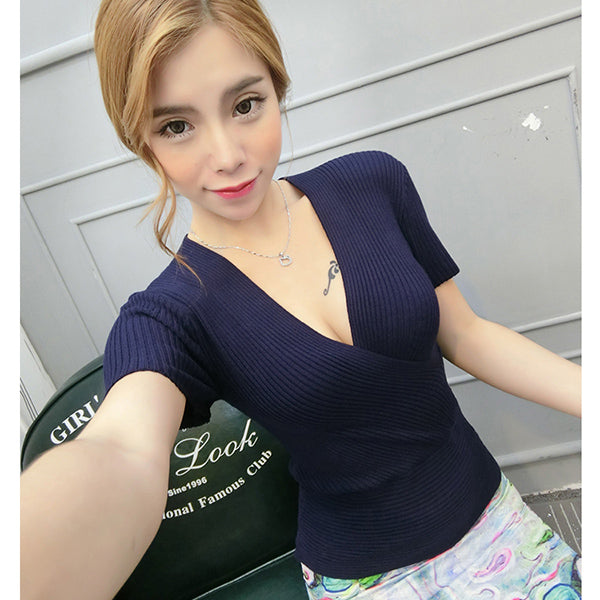 AOSSVIAO Sexy V Neck Sweater Ladies Short Sleeve Pullovers Fall 2018 New Fashion Women Korean Knitted Casual Sweater Candy Color-lilugal