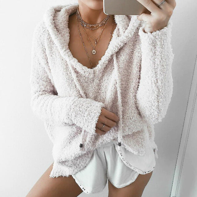 2018 Autumn Women Mohair Sweater Hooded Pullover V Neck Cashmere Sweaters Fashion Sweet Loose Warm Winter Mohair Tops Pullover-lilugal