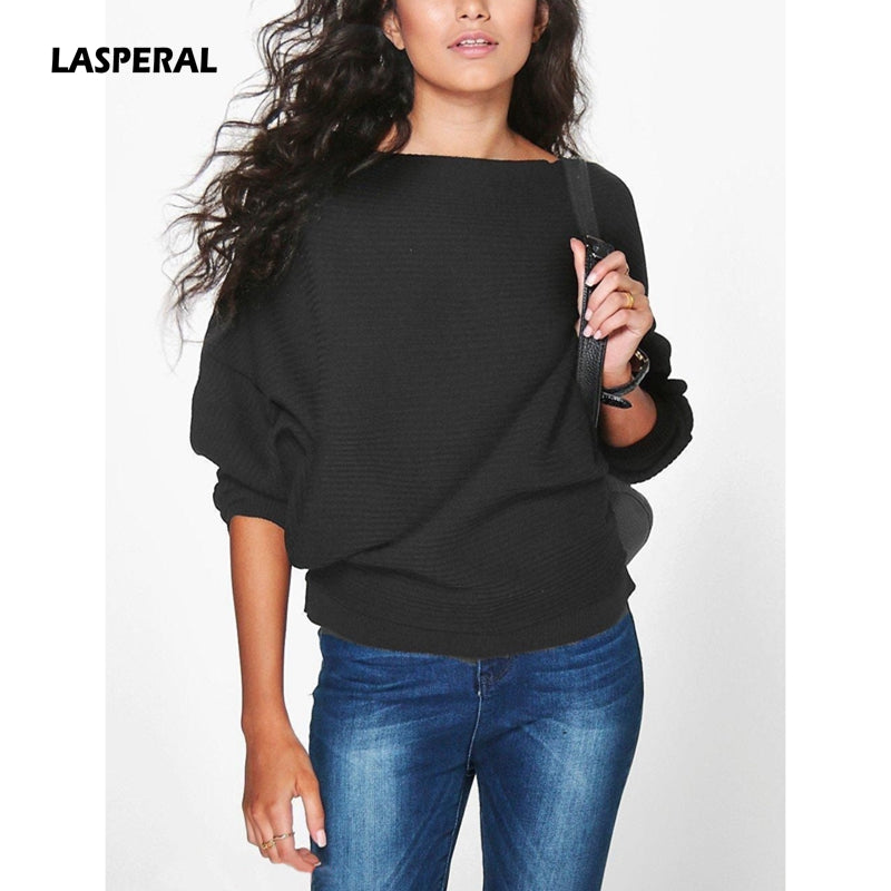 LASPERAL 2018 Spring Autumn Fashion Loose Batwing Sleeve Knitwear Sweater Women Casual Soft Pullovers Vintage Tops Female Jumper-lilugal
