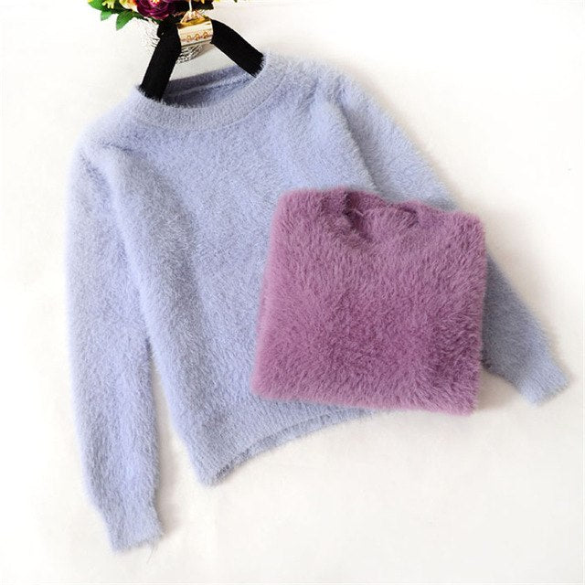 Cashmere Sweater 2018 New Winter Warm Sweater O-neck Pullover Long Sleeve Knitted Casual Loose Sweater Women's Basic Tops SW678-lilugal