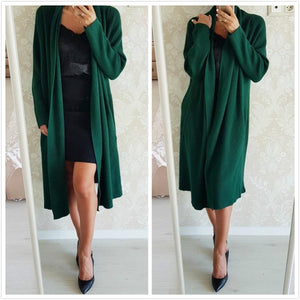 Young17 Autumn Sweater Women 2018 Red Green Long Sleeve Long Casual Plain Slim Cardigan Sweater Women Cardigan Sweater-lilugal