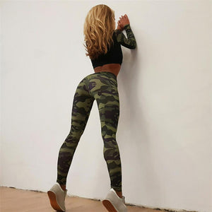 Chamsgend 2017 New Jeans Pants Women Pencil Elastic Waist Tracksuit Camouflage Stitching Sweatshirt Wear Pants-lilugal