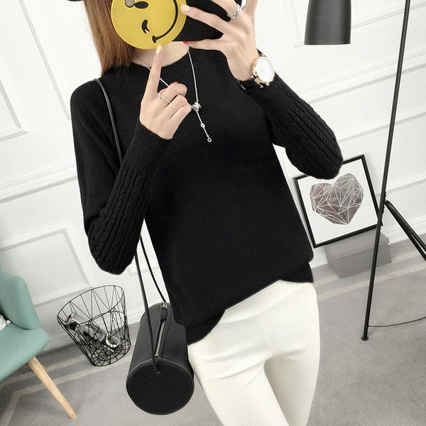 Vintarfell Knitting Pullover And Sweater For Women 2017 Autumn Winter Full Sleeve O-Neck Female Casual Knitwear Female Tops FEME-lilugal
