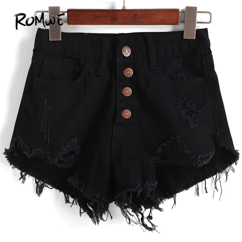 ROMWE Single-breasted Ripped Fray Hem Denim Shorts Women Casual High Waist Black Hot Shorts 2018 Fashion Rock Straight Shorts-lilugal