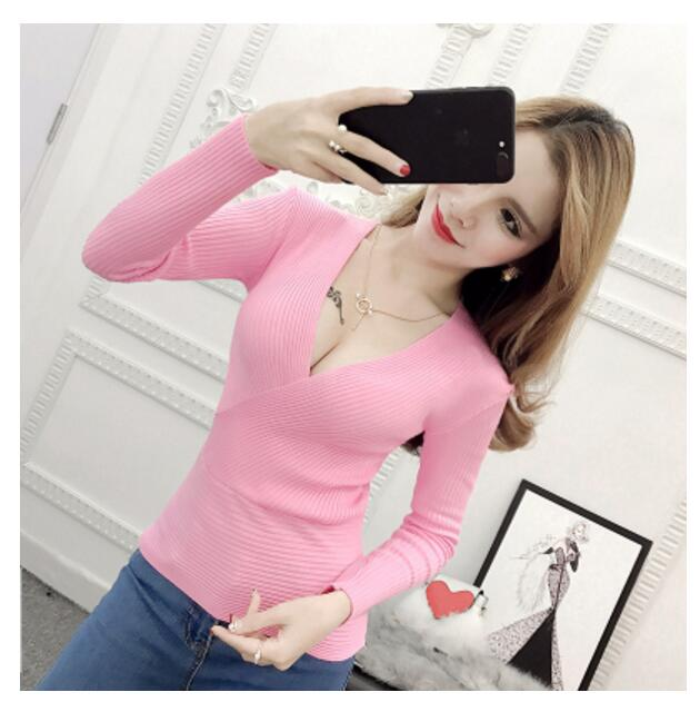AOSSVIAO 2018 Spring High Elastic Knitted Sweater Woman Sexy V-Neck Women Sweaters And Pullovers Korean Long Sleeve Pull Femme-lilugal