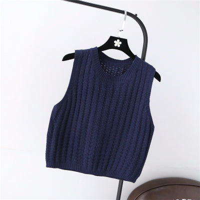 2018 spring Autumn pullover knit round neck vest for Women Korean style Fashion Knitted sleeveless pullover Sweater-lilugal