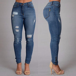 2018 New Women High Waist Casual Denim Cotton Button Ripped Zipper Fly Skinny Blue Pencil Long Jeans-lilugal