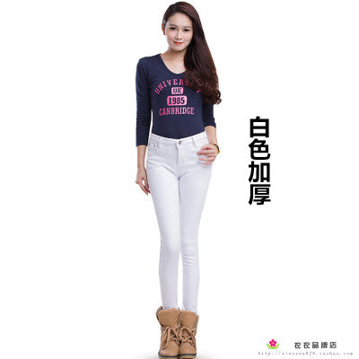 2018 Autumn Winter Jeans for Women Skinny Pencil Style Warm Many Colored Jeans Plus Cashmere-lilugal