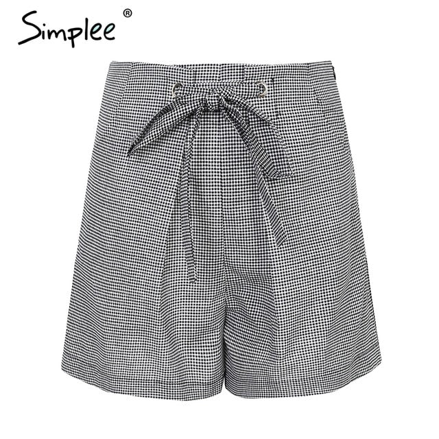 BerryGo Tie up casual plaid shorts women bottom Streetwear ring summer shorts 2018 Beach white zipper high waist shorts femme-lilugal