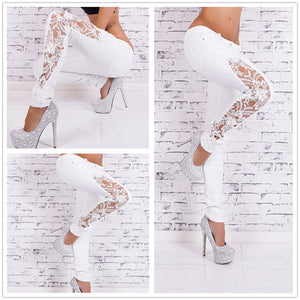 White Jeans With Lace Hollow Out Lace Stitching Full-Length Denim Slim Skinny Pencil Low Waist Pants Women Fashion Sexy Jeans-lilugal