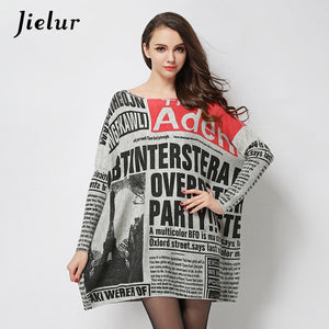 2018 Autumn New Fashion Long Oversized Sweater Casual Letter Print Women Sweaters Pullovers Cool Batwing Sleeve Female Pullover-lilugal