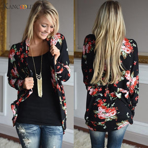 Women Cardigans New Fashion Irregular Neck Floral Print Cardigan Women Casual Plus Size Coat Tops Femme Chaqueta De Mujeres Oc26-lilugal