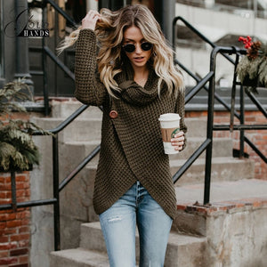 Gold Hands Sweat Women Irregular Hem Spliced Knit Sweater Solid Color Split Buttons Pullover Female Hollow Out Casual Slim Shirt-lilugal