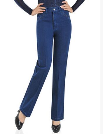 2018 New spring autumn women jeans high waist stretch denim pants plus size straight trousers s691-lilugal