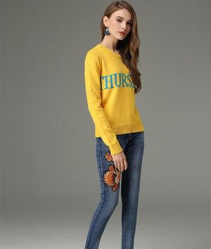 Plus Size One Week Women Sweaters Pullovers Rabbit Fur Luxury Brand 2017 Autumn Soft Saturday Sunday Date Letters Sweaters-lilugal