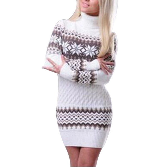 LASPERAL Autumn Winter Long Sleeve Turtleneck Pullover Women Sweater Snowflake Knitwear Female Long Sweater Dresses Vestidos Z30-lilugal