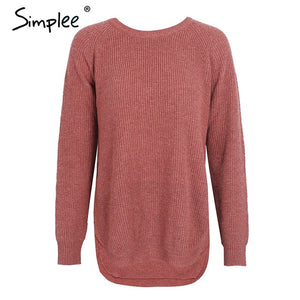 Simplee Trendy side split knitting pullover Soft autumn winter sweater women Casual streetwear warm jumper pull female 2017-lilugal