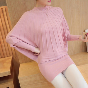 Mode Femme Automne 2018 Fashion Autumn Winter Women Knitted Sweaters and Pullovers Batwing Sleeve Long Knitwear Chandail Femme-lilugal