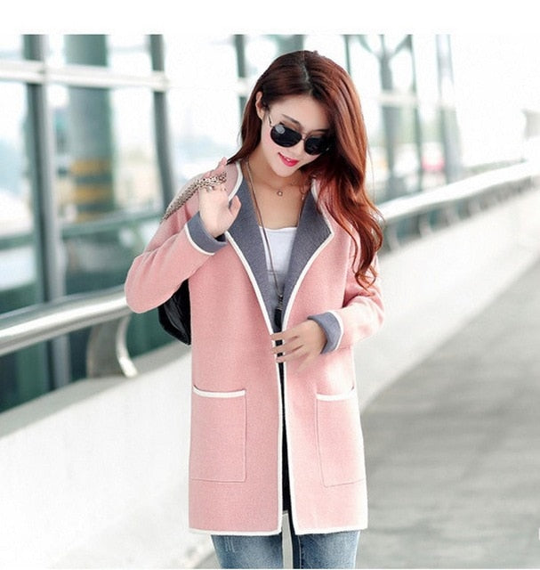 KJ260 2018 Women New Autumn Patchwork Long sleeve Slim Thin Knitted Cardigan Female Long Sweaters Fashion Cardigan Outwears-lilugal