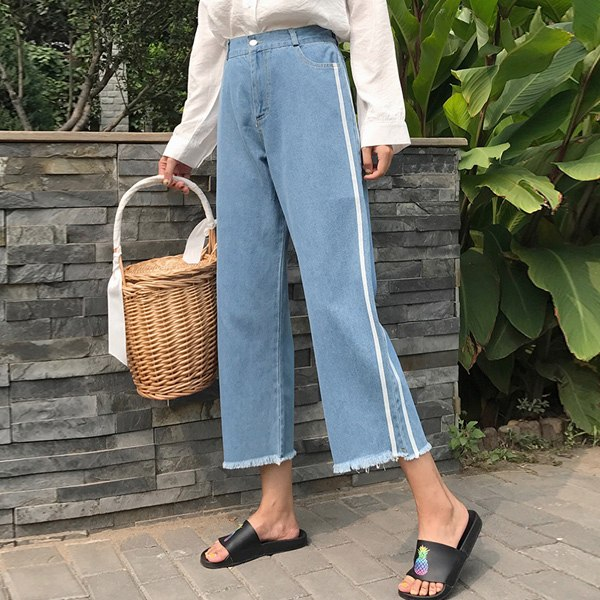 Diqiong Loose Wide Leg Nine Points Jeans 2017 Fashion Jeans for Woman Side Denim Pants High Waist Plus Size Femme Trousers-lilugal
