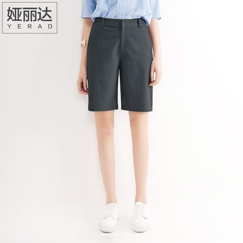 YERAD Bermuda Shorts Summer Knee Length Office Lady Fashion Loose Shorts Women Mini Trousers with Pockets-lilugal