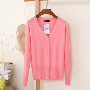 2018 Korean loose short sweater thin section spring and autumn long-sleeved women's cardigan 18314-lilugal