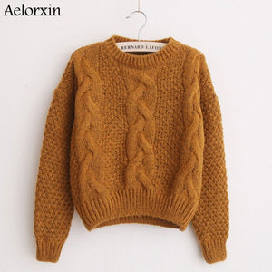 Women Sweaters Warm Pullover and Jumpers Crewneck Mohair Pullover Twist Pull Jumpers Autumn 2017 Knitted Sweaters Christmas-lilugal