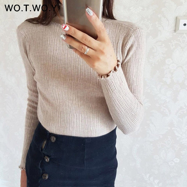 WOTWOY Ruffles Turtleneck Sweater Women Long Sleeve Slim Fit Solid Pullovers Women Autumn Winter Knitted Basic Korea Sweaters-lilugal