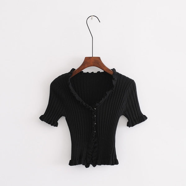 Women Ruffle Trim Crop Knit Cardigan with Short Sleeve Deep V Neck Crop Knit Tops-lilugal