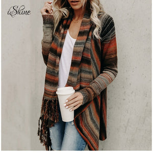 2018 Spring Knitted Cardigan Jacket Women Ladies Tassel Striped Irregular Cloak Cardigans Coats Irregular Oversized Sueter Tops-lilugal