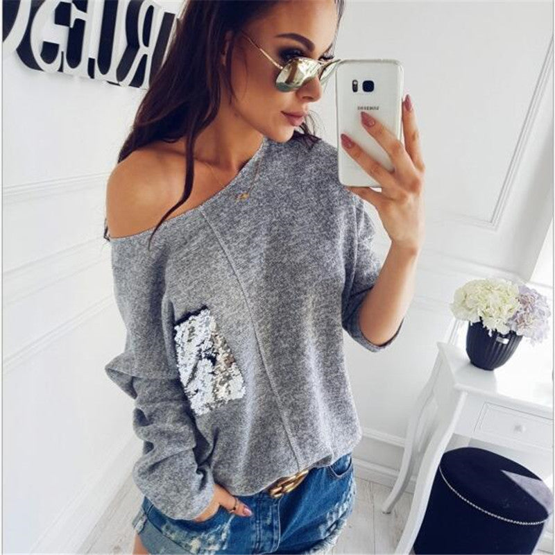 Women New Autumn Batwing Sleeve O-Neck Top Sweaters Sexy One Shoulder Solid Color Loose Sweater Female Patchwork Knitted Sweater-lilugal