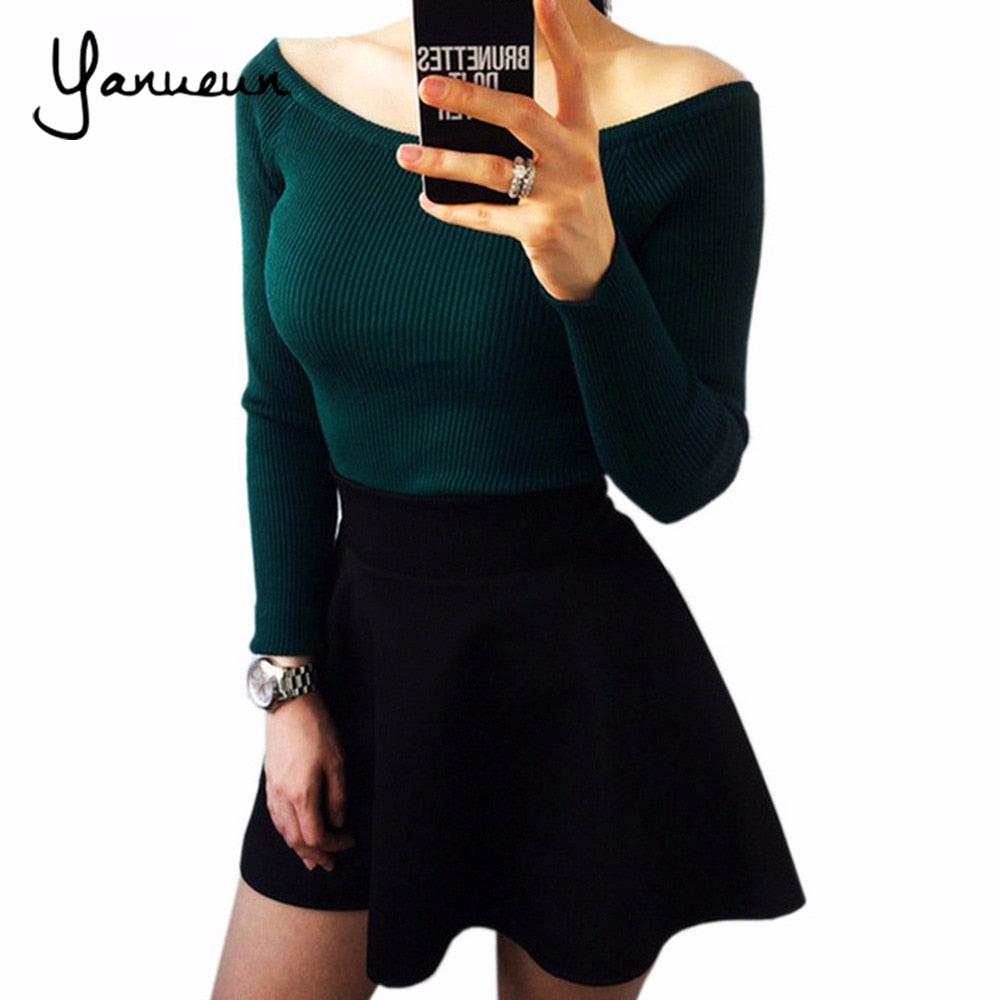 Yanueun 2017 Autumn Winter Basic Women Sweater slit neckline Strapless Sweater thickening Sweater Off Shoulder Pullover Sweaters-lilugal