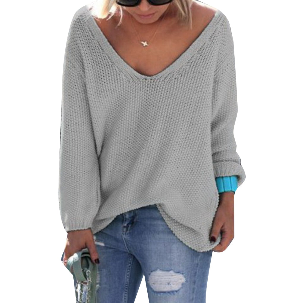 Autumn Women's Clothing Knitted Sweaters Pure Color V-Neck Long Sleeves Casual Streetwear-lilugal