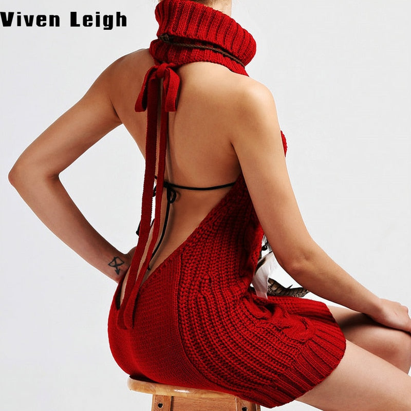 2017 Summer New Turtleneck Sleeveless Long Virgin Killer Sweater Japanese Knitted Sexy Backless Women Sweaters Slim Pullovers-lilugal