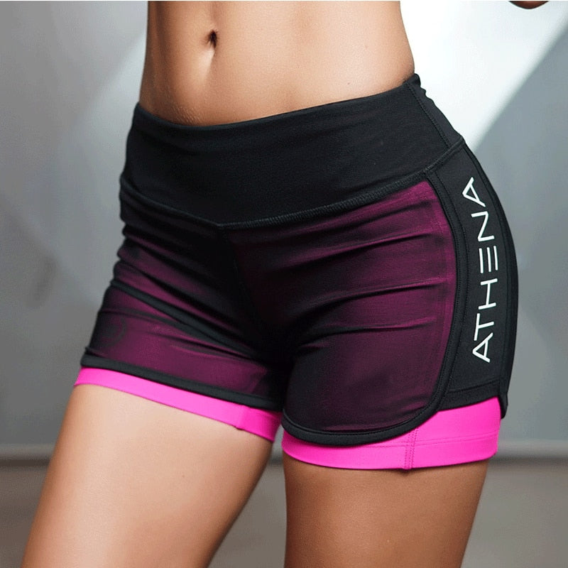 2018 Summer New Women Short for Workout Fashion Casual Active Short Feminino Fake Two Breathable Shorts Women-lilugal