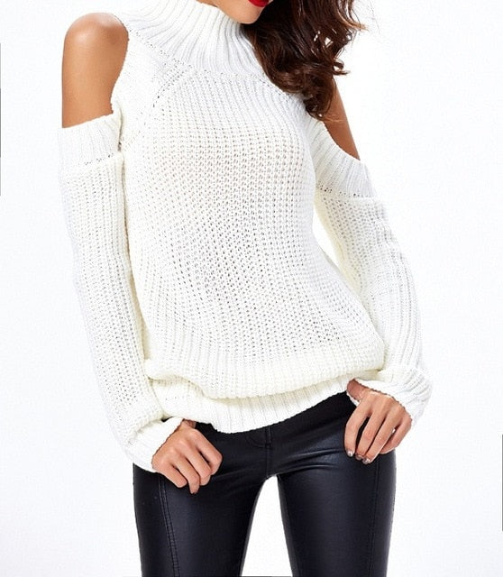 Turtleneck cold shoulder knitted sweater women Casual cotton streetwear pullover sweater female Sexy autumn winter jumper 2018-lilugal