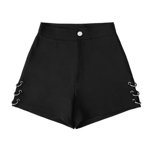 Summer Black split Shorts For Women Loose Rings decoration Fashion Shorts Female-lilugal