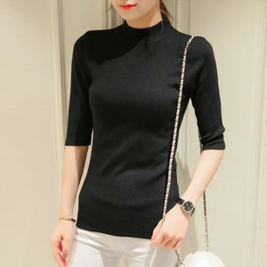 Poncho Time-limited Three Quarter Women Sweater 2018 New Spring Korean Sleeve Shirt Collar Solid Elastic Sweater Five Girl-lilugal