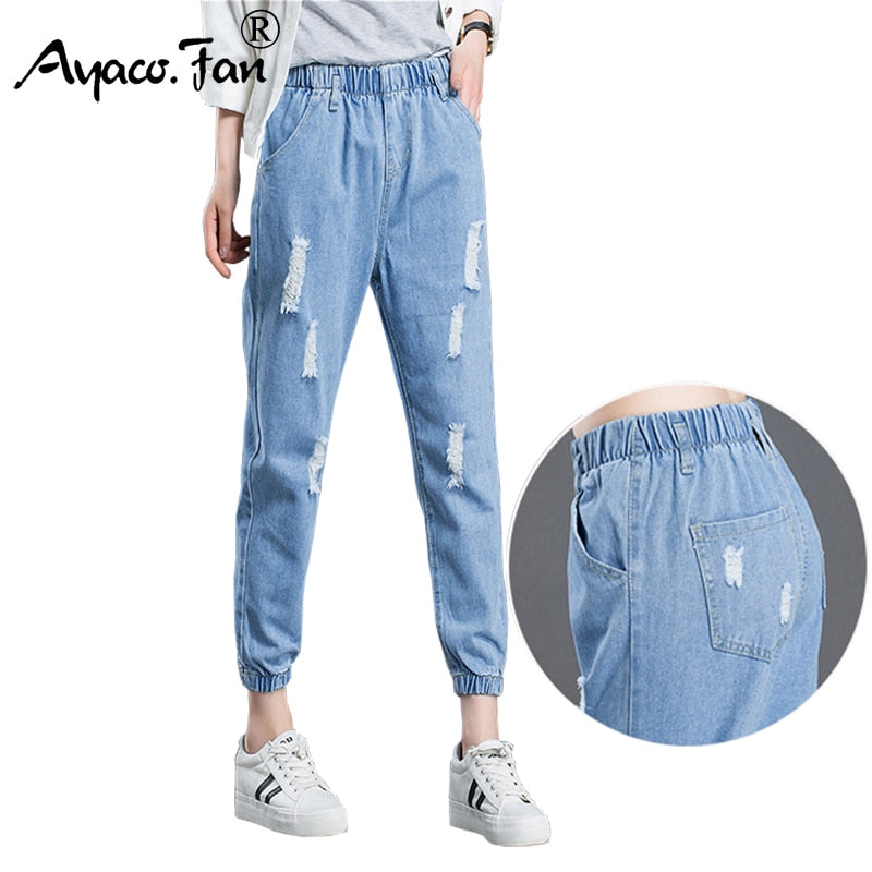 Summer 2018 Boyfriend Jeans Women Students Stretch Loose Blue Ankle-Length Pants Female Slim Harem Pants Denim Ladies Trousers-lilugal