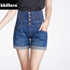 Plus Size 26-40 High Waist Denim Shorts For Women Summer Style Stretched Full Size Folded Bottom Elastic Waist Short Jeans-lilugal