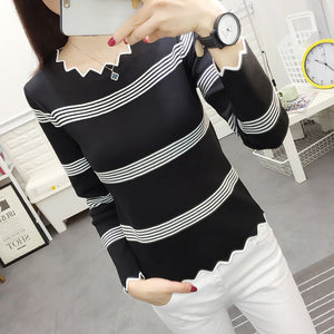 2018 Spring Women Wave Edge Knitted Pullover Shirt Striped Slim Ladies Sweater Tops White-lilugal