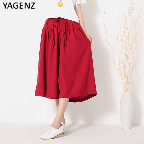 YAGENZ 2017 new large size of cotton linen shorts skirts casual women shorts summer autumn girdle Elastic shorts skirts B028-lilugal