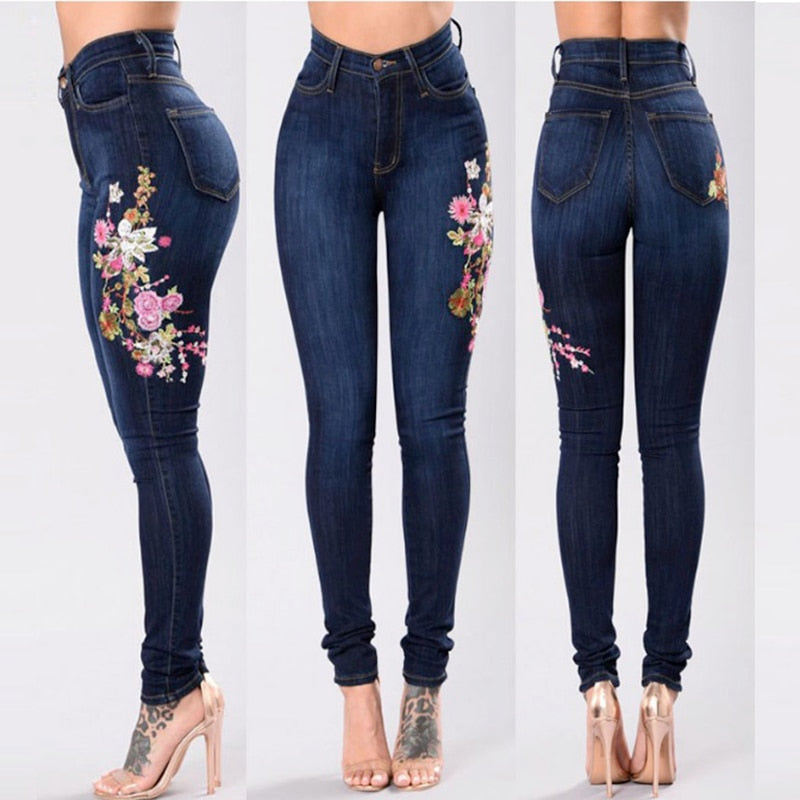 2018 casual Jeans Women Basic Classic High Waist Skinny Pencil Denim Pants embroidery ripped hole Elastic Stretch Jeans 2xl 3xl-lilugal