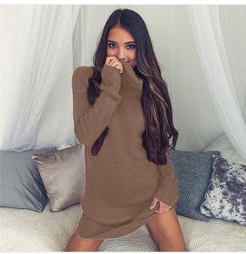 NIBESSER 2018 Spring Thin Turtleneck Long Sweater Pullover Women Long Sleeve Sweater Dress Femme Jumper Jersey Mujer Invierno-lilugal