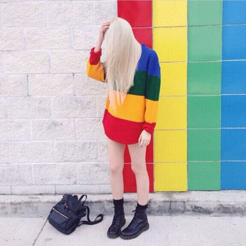 New Vintage Jumper Long Sleeve Rainbow Sweater Loose Stripe Knitted Pullover Womens-lilugal