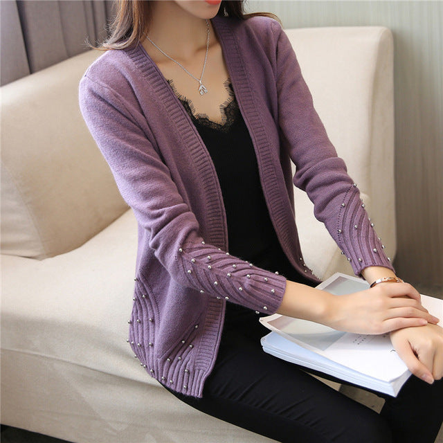 PEONFLY 2018 Fashion Beading Loose Knitted Cardigan Female Autumn Winter Tricot Sweater Cardigan Women Long Sleeve Jacket-lilugal