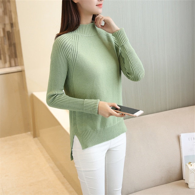 PEONFLY2018 Half a Turtleneck Sweater Women Autumn Winter Women Sweaters And Pullovers Female Split tricot Jumper Pull Femme-lilugal