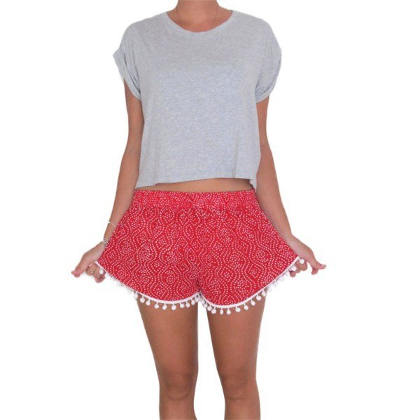 Women Girl Casual Shorts Elastic Waist Acetate Summer Style Short Pants-lilugal